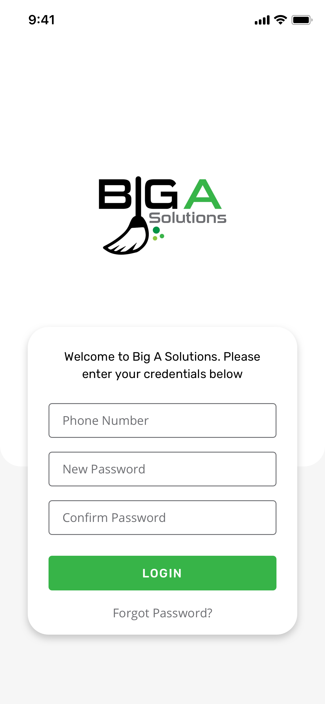 Big A Login page UI.